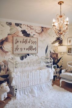 Floral Wallpaper Nursery - A Vintage Inspired Nursery - Vintage floral wallpaper, Watercolor floral wallpaper, Peonies wallpaper Nursery, Wallpaper Nursery - Baby Room Boy, Baby Room Decor, Nursery Decor, Whimsical Nursery, Floral Nursery, Nursery Room Ideas, Floral Room, Baby Baby, Baby Kids
