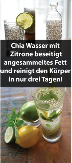 Chia Wasser mit Zitrone beseitigt angesammeltes Fett und reinigt den Körper in … Chia water with lemon eliminates accumulated fat and cleanses the body in just three days! Full Body Detox, Cleanse Your Body, Healthy Detox, Healthy Drinks, Easy Detox, Healthy Weight, Menu Dieta, Veggie Juice, Natural Detox Drinks