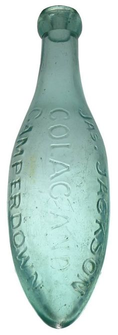 Jas. Jackson, Colac and Camperdown. Antique Torpedo or Hamilton Bottle. Soda Water. c1880s.