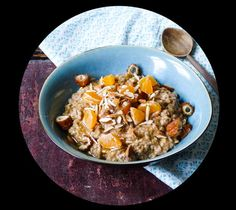 date & clementine porridge - langsamfood Flakes, Oatmeal, Grains, Vegan, Breakfast, Easy, Recipes, Water, Food