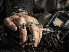 Biker hand with Rings