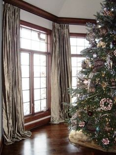 Wonderful silk panels coordinate with any holiday decor. Silk Drapes, Drapery, Home Curtains, Custom Drapes, Window Dressings, Great Rooms, Photo Galleries, Windows, Holiday Decor