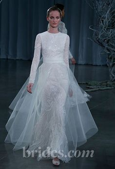 Brides.com: Fall 2013 Wedding Dress Trends. Wedding Dress with Long Sleeves: Monique Lhuillier. Long-sleeved, lace gown by Monique Lhuillier  See more Monique Lhuillier wedding dresses in our gallery.
