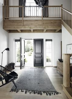 Mix of gray floor, white walls and soft tan/gray woodwork with black!!!! YES.