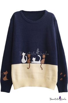 Preppy Look Color Block Car Embroidered Round Neck Long Sleeve Sweater