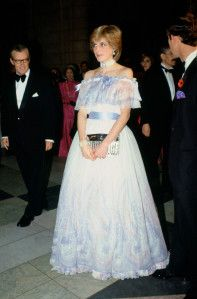 LONDON, UNITED KINGDOM - NOVEMBER 04:  Diana Princess of Wales at 'Splendours of the Gonzaga' exhibition at the Victoria and Albert Museum.  Diana wears a silk chiffon romantic ballgown by Bellville Sassoon. The dress is in feminine pastel shades of blue, pink and white, it has an off-the-shoulder neckline edged in satin bows. A wide sash is worn. Small silver beads are intermittently sewn on to the dress to create subtle shimmer.