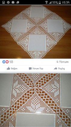 Elegant Filet Crochet Tablecloth For Modern Table Decor – Page 6 – Crochet F Crochet Symbols, Crochet Motifs, Crochet Doilies, Crochet Stitches, Crochet Patterns, Diy Crafts Crochet, Crochet Home, Easy Crochet, Crochet Table Runner