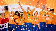 """Bij de Amsterdam RAI is de Nederlandse ploeg van Rio de Janeiro in het zonnetje gezet, tot voldoening van Dafne Schippers. """"Dit is gaaf, heel gaaf."""""""