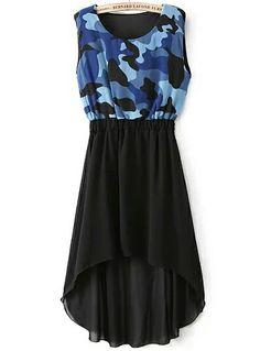 Blue Camouflage Sleeveless High Low Chiffon Dress US$22.95