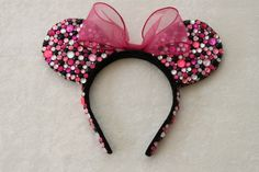 Pink, Black, & Clear Rhinestone Minnie Mouse Ears