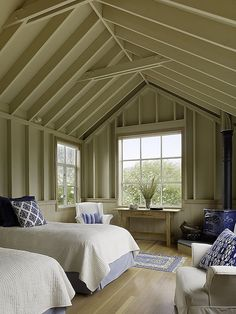 Bedroom at Stinson Beach House in Northern California designed by Butler Armsden Architects with the interiors carried out by by Scavullo Design.