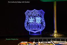 Port Authority Badge Gift Light - Changing Color #PoliceEmblemLight #PortAuthorityGift #EdgeLitSign #Transportation #CustomLogo #PoliceOfficer #PoliceLight #CountyPolice #LawEnforcement #ThinBlueLine