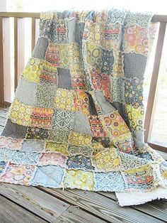 Twin Size Quilt Rag Silent Cinema Mix blue by southerncharmquilts, $249.00