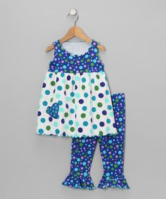 Take a look at this Blue Dot Swing Tank & Capri Pants - Toddler & Girls by Mis-Tee-V-Us on #zulily today!
