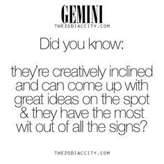 zodiaccity:  Zodiac Gemini Facts. For more information on the zodiac signs, click here.