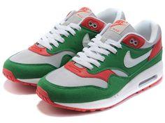 hot sale online 856da 10b05 Mujer Nike Air Max 1 Premium zapatos de entrenamiento verde gris red rojos  OEvaD
