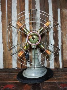 One-of-a-kind Upcycled Repurposed Vintage Westinghouse Metal Oscillating Fan Steampunk Art Industrial Age Lamp w/Edison Style Bulbs & Dimmer