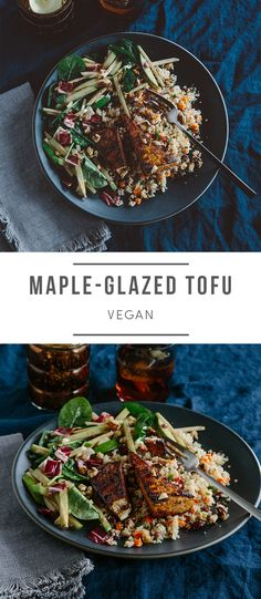 Sweet meets savory in this fall-inspired dish. Tofu marinated in a maple tamari sauce is pan-seared, then baked golden brown. Check out how to make it here! Tofu Recipes, Healthy Dinner Recipes, Vegetarian Recipes, Vegan Meals, Vegan Food, Green Chef, Marinated Tofu, Cranberry Recipes, Vegan Kitchen