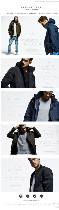 Industrie - good Outerwear email showcasing product and properties of the product