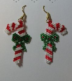 christmas women jewelry: beaded earrings | make handmade, crochet, craft: