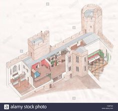 Stock Photo - A cutaway reconstruction drawing of the inner apartments in the east range at Bodiam Castle, East Sussex. Illustration by Stephen Conlin Medieval Life, Medieval Castle, Bodiam Castle, Architecture Concept Drawings, Revival Architecture, Fortification, Illustrator Tutorials, East Sussex, Historic Homes