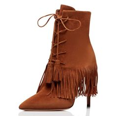 1944c6e1da68 Brown Faux Fur Peep Toe Booties Lace up Stiletto Heel Ankle Boots ...