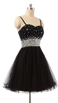 Hot Sales Crystals Rhinestones Spaghetti Straps Black Homecoming Dresses, Short Homecoming Dress,Black Short Prom Dresses ,Short Graduation Dress,Cocktail Dresses,Formal Women Skirt,short evening gowns,wedding party dresses,party gowns