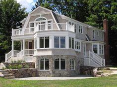 shingle style houses   Pretty stone and shingle Hamptons style home