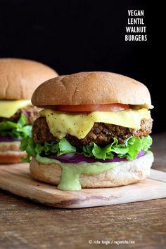 Walnut Burgers Vegan Lentil Walnut Burgers Easy Flavorful Burger patties with avocado ranch Vegan Burger Recipe Soyfree Easily glutenfree Vegan Lentil Walnut Burgers Eas. Vegan Veggie Burger, Vegan Burgers, Vegan Vegetarian, Vegetarian Recipes, Healthy Recipes, Meatless Burgers, Lentil Burgers, Lentil Recipes, Free Recipes