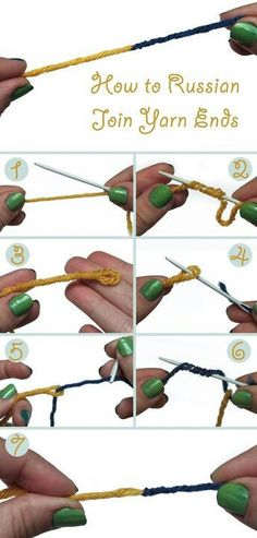 How to Russian Join Yarn Ends; because weaving in ends sucks. The Russian join is an excellent technique for attaching a new skein of yarn or for changing colors. Loom Knitting, Knitting Stitches, Knitting Patterns, Crochet Patterns, Cowl Patterns, Knitting Help, Crochet Symbols, Hand Knitting, Stitch Patterns