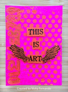 ATC by Vicky Fernando using Darkroom Door Mail Art Rubber Stamps and Dots Texture Stamp.