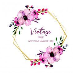 Vintage frame Premium Vector Vintage Floral Backgrounds, Floral Vintage, Vintage Flowers, Vintage Art, Wedding Frames, Wedding Cards, Wedding Invitations, Vintage Borders, Flower Logo