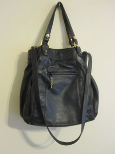 Vtg 80s Brio Black Leather Handbag