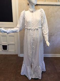 Eileen West Queen Anne's Lace Old Timey White Cotton Ruffled Nightgown - L #18