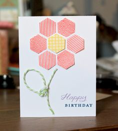 handmade birthday card ... hexagon flower with bakers twine stem and leaf ... clean and simple ... bright and cheery ...