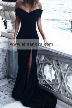 Sexy Leg Slit Long Mermaid Evening Dress Off Shoulder Prom Gowns