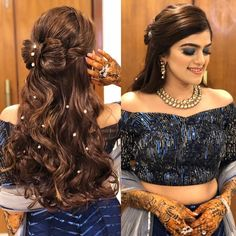 Open Hairstyles, Indian Hairstyles, Girl Hairstyles, Kashees Hairstyle, Engagement Hairstyles, Hairdresser, Bollywood, Hair Dressing, Hair Buns