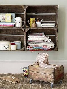 old crates as shelves; love this idea and i love OLD crates! Pallet Crates, Old Crates, Wooden Crates, Wine Crates, Vintage Crates, Vintage Wood, Wine Boxes, Wooden Boxes, Wood Pallets