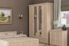 Štýlová skriňa SERENA v drevnom dekóre, sa radí medzi nábytok v klasickom štýle. Jemné orámovanie čielok, dodáva skrini eleganciu. Farebné prevedenie je dub sonoma. Skriňa je štvordverová. Na 2 stredových dverách sú umiestnené zrkadlá. V spodnej časti skrine sú praktické šuplíky. #byvanie #domov #nabytok #skrine #klasickeskrine #modernynabytok #designfurniture #furniture #nabytokabyvanie #nabytokshop #nabytokainterier #byvaniesnov #byvajsnami #domovvashozivota #dizajn #interier #inspiracia Armoire, Mirror, Furniture, Home Decor, Clothes Stand, Decoration Home, Closet, Room Decor, Reach In Closet