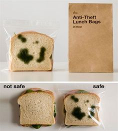 Anti-Theft Lunch Bag with fake mold. Hilarious