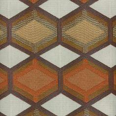 Pumpkin Orange Geometric Upholstery Fabric - Copper Brown Woven Furniture Fabric - Dark Orange Taupe Geometric Headboard Window Seat Cushion