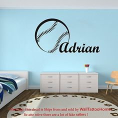 Wall Decals Custom Personalized Name Decal Baseball Ball Vinyl Sticker Gym Boy Bedroom Nursery Baby Room Home Decor…