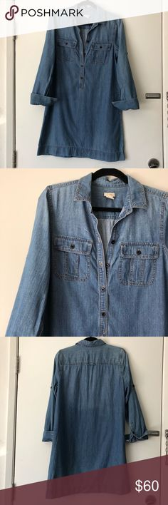 J.CREW // chambray dress classic chambray, long-sleeved dress that was worn a handful of times. in excellent condition with so much life left. would be perfect for cooler summer nights or warm days with the sleeves rolled up! J. Crew Dresses Long Sleeve