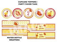 Winnie the Pooh Birthday Party Printable - Winnie the Pooh Water Bottle Labels, Winnie the Pooh Cupcake Toppers, Red Butterfly Party Tags. $5.00, via Etsy.