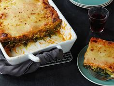 Giada's classic Italian lasagna calls for a more-authentic bechamel sauce instead of ricotta. Simple tomato sauce, beef, and spinach add depth to the dish.