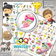50%OFF - Winter Stickers, Planner Stickers, Olympic Games Stickers, Printable Planner Stickers, Winter Olympic Games, Sport Games, Stickers