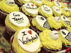 Volleyball cupcakes. A Baker's Heart