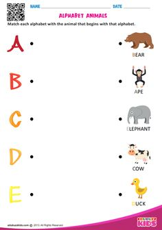 Free English worksheets with include the practice of match alphabet animals, these help kids to recognize the letters of alphabet. English Activities For Kids, English Worksheets For Kindergarten, Printable Preschool Worksheets, English Worksheets For Kids, Alphabet Worksheets, Alphabet Tracing, Tracing Worksheets, Kids Learning Alphabet, Alphabet Activities Kindergarten