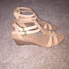Franco Sarto Low Wedge sandals Worn once for a wedding. Still in new condition. Sooo comfortable. Great with jeans, dresses, capris. PERFECT summer shoe. Easy to walk in but give you a little height! *have original box* Franco Sarto Shoes Sandals