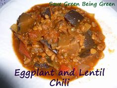 Slow Cooker Eggplant & Lentil Chili